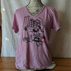 Disney Store NYC Minnie Mouse V-neck pink shirt